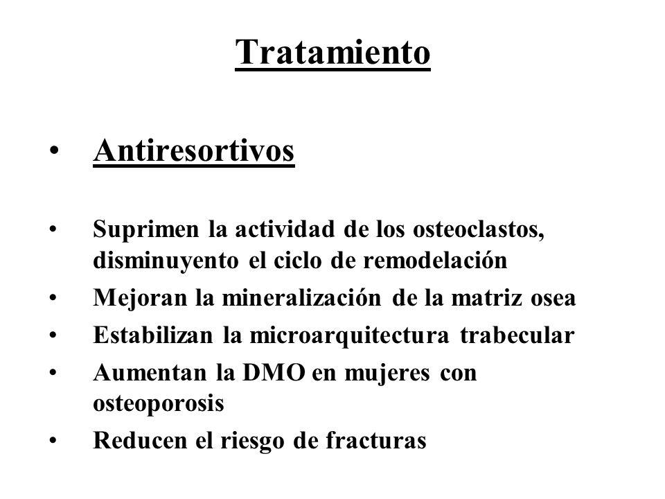 Tratamiento Antiresortivos Suprimen la actividad de los osteoclastos, disminuyento el ciclo de remodelación Mejoran la mineralización de la matriz ose
