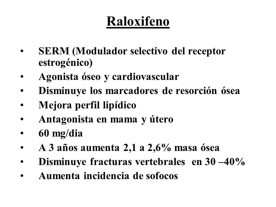 Raloxifeno SERM (Modulador selectivo del receptor estrogénico) Agonista óseo y cardiovascular Disminuye los marcadores de resorción ósea Mejora perfil