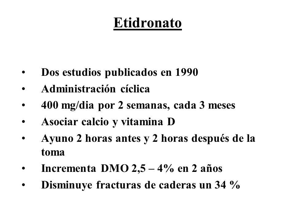 Etidronato Dos estudios publicados en 1990 Administración cíclica 400 mg/dia por 2 semanas, cada 3 meses Asociar calcio y vitamina D Ayuno 2 horas ant