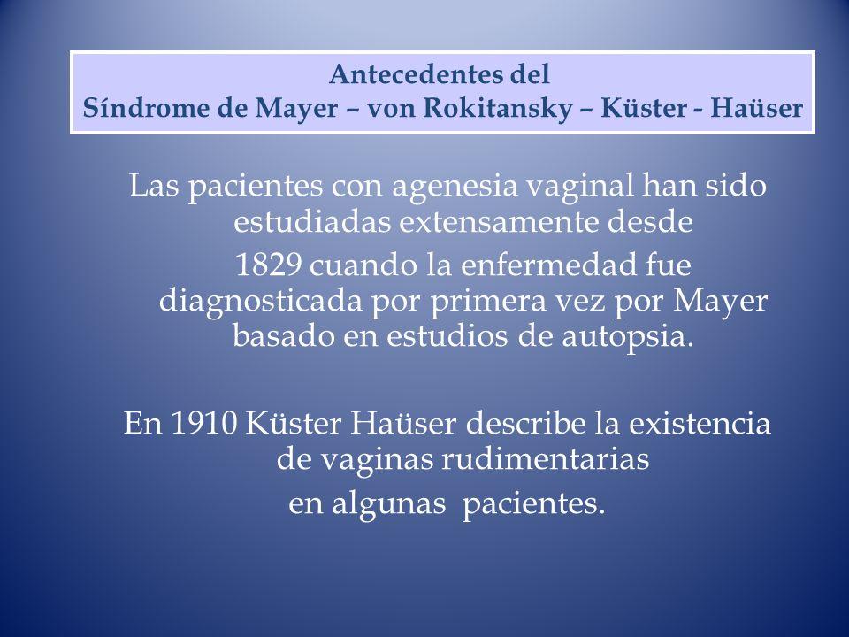 Las pacientes con agenesia vaginal han sido estudiadas extensamente desde 1829 cuando la enfermedad fue diagnosticada por primera vez por Mayer basado