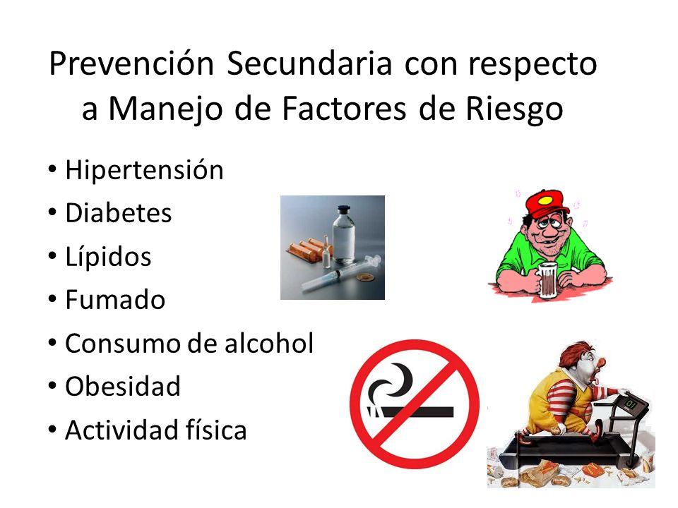 Prevención Secundaria con respecto a Manejo de Factores de Riesgo Hipertensión Diabetes Lípidos Fumado Consumo de alcohol Obesidad Actividad física