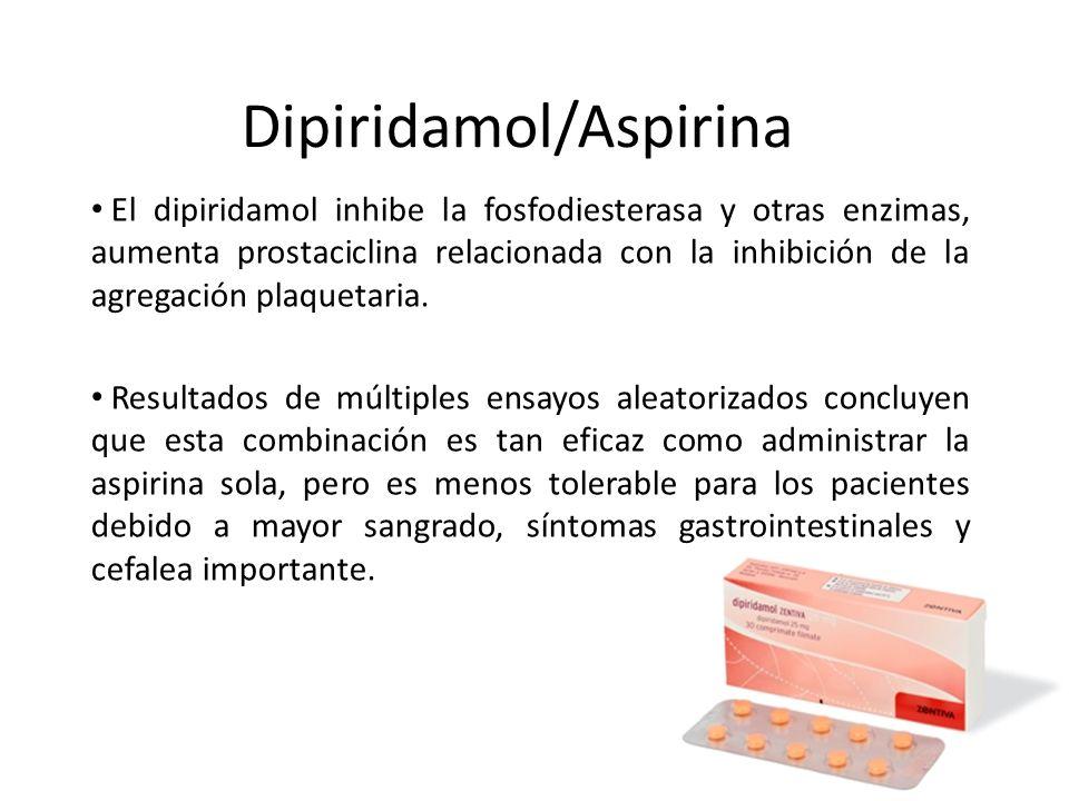 Dipiridamol/Aspirina El dipiridamol inhibe la fosfodiesterasa y otras enzimas, aumenta prostaciclina relacionada con la inhibición de la agregación pl
