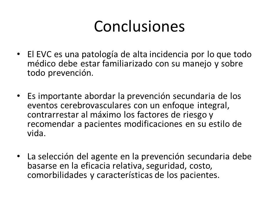 Conclusiones El EVC es una patología de alta incidencia por lo que todo médico debe estar familiarizado con su manejo y sobre todo prevención. Es impo