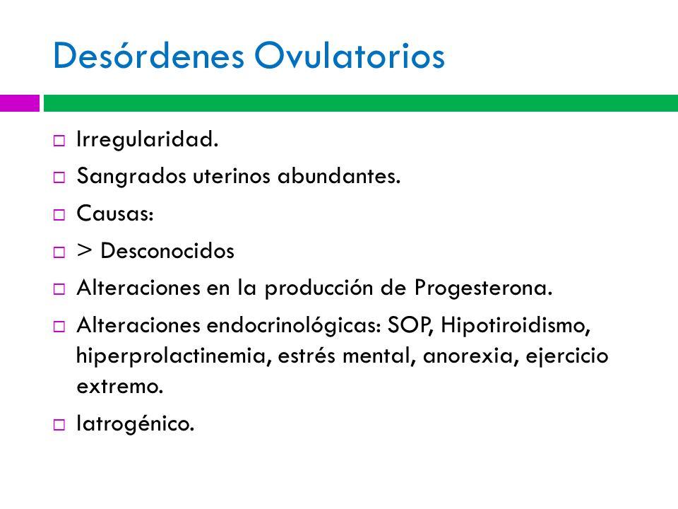 Desórdenes Ovulatorios Irregularidad. Sangrados uterinos abundantes. Causas: > Desconocidos Alteraciones en la producción de Progesterona. Alteracione