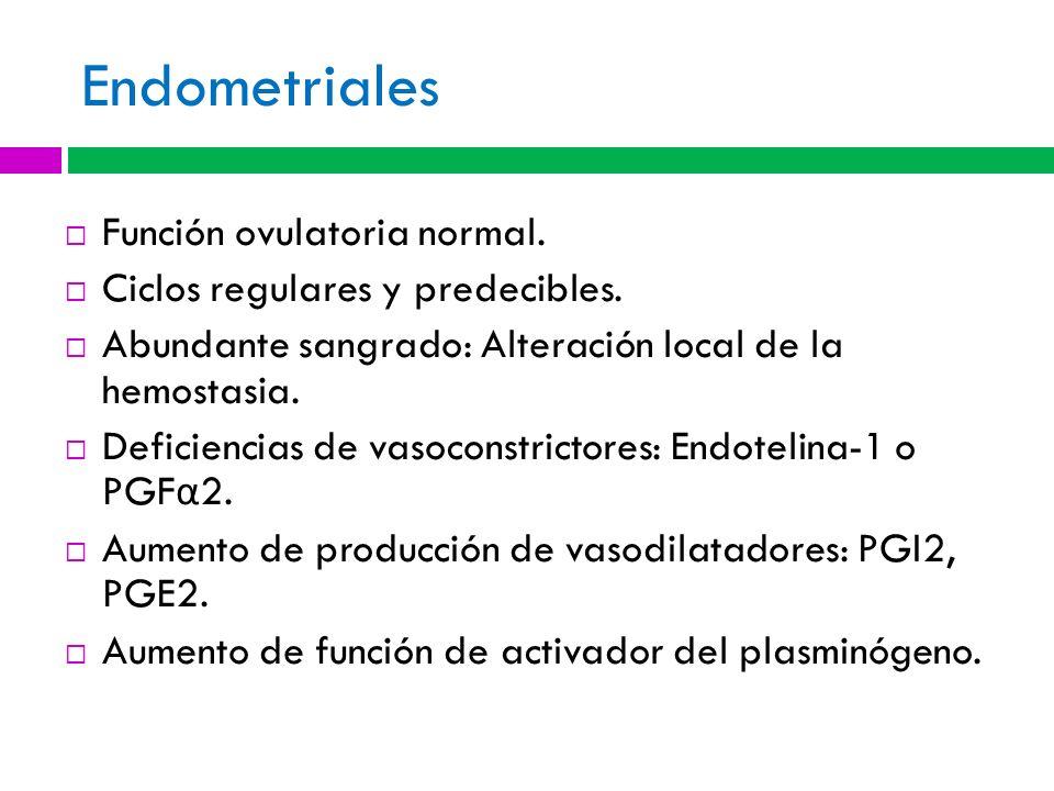 Endometriales Función ovulatoria normal. Ciclos regulares y predecibles. Abundante sangrado: Alteración local de la hemostasia. Deficiencias de vasoco