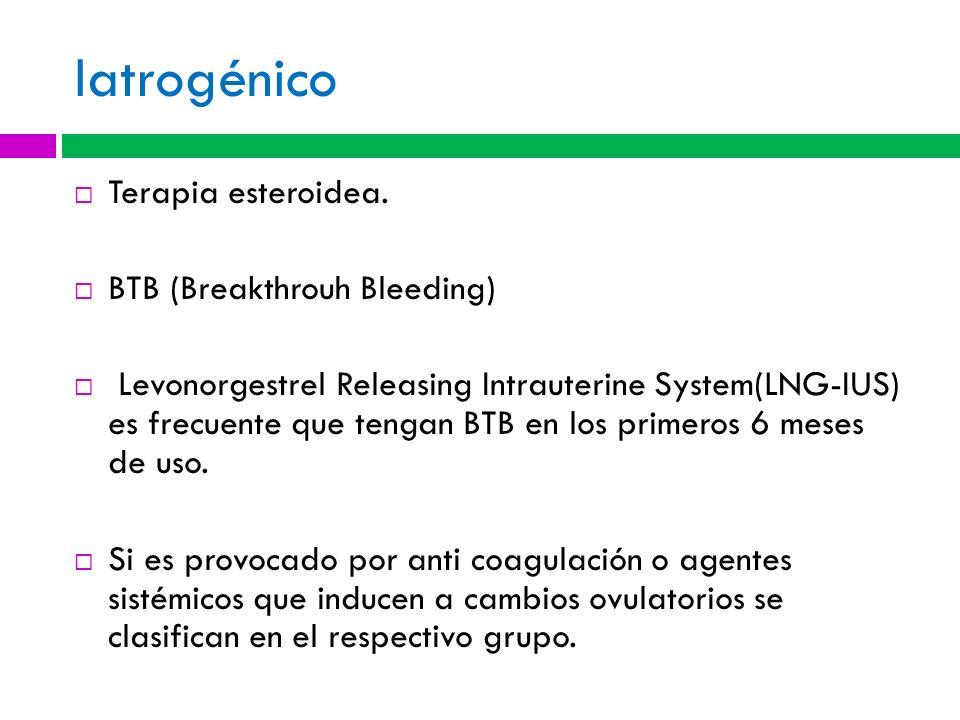 Iatrogénico Terapia esteroidea. BTB (Breakthrouh Bleeding) Levonorgestrel Releasing Intrauterine System(LNG-IUS) es frecuente que tengan BTB en los pr