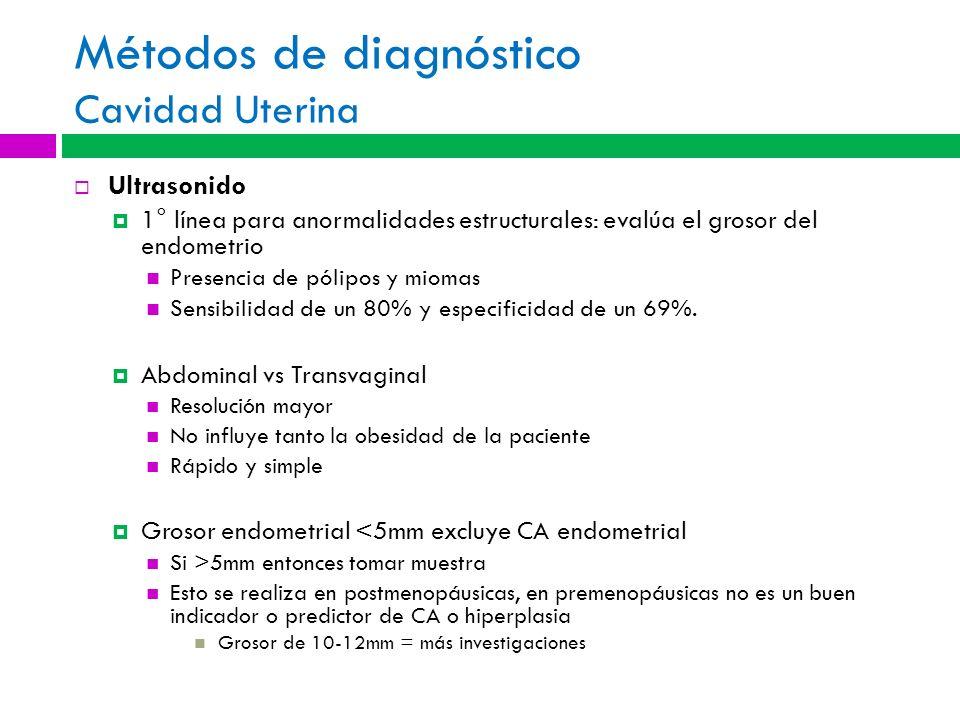 Métodos de diagnóstico Cavidad Uterina Ultrasonido 1° línea para anormalidades estructurales: evalúa el grosor del endometrio Presencia de pólipos y m