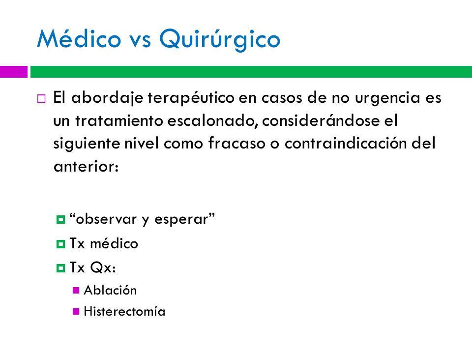 Médico vs Quirúrgico El abordaje terapéutico en casos de no urgencia es un tratamiento escalonado, considerándose el siguiente nivel como fracaso o co