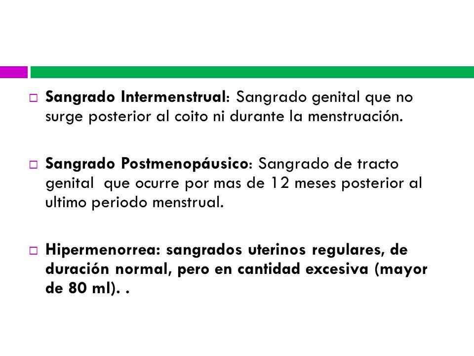 Sangrado Intermenstrual: Sangrado genital que no surge posterior al coito ni durante la menstruación. Sangrado Postmenopáusico: Sangrado de tracto gen