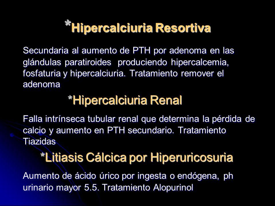 * Hipercalciuria Resortiva Secundaria al aumento de PTH por adenoma en las glándulas paratiroides produciendo hipercalcemia, fosfaturia y hipercalciur