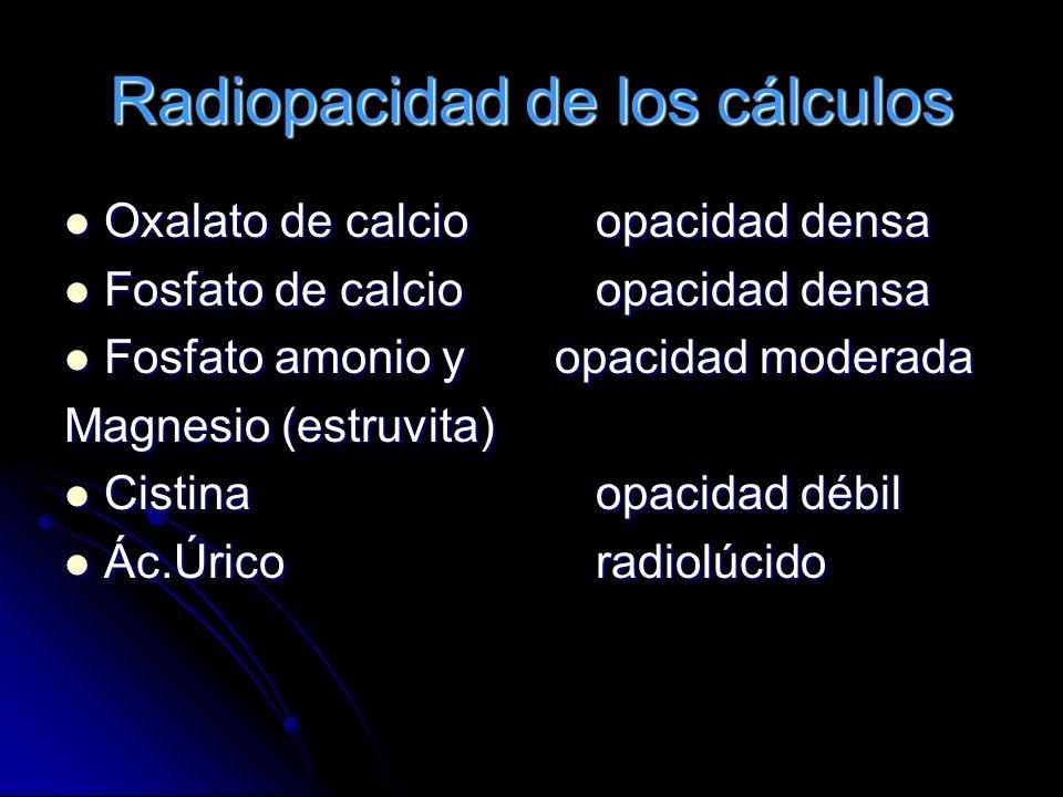 Radiopacidad de los cálculos Oxalato de calcioopacidad densa Oxalato de calcioopacidad densa Fosfato de calcioopacidad densa Fosfato de calcioopacidad