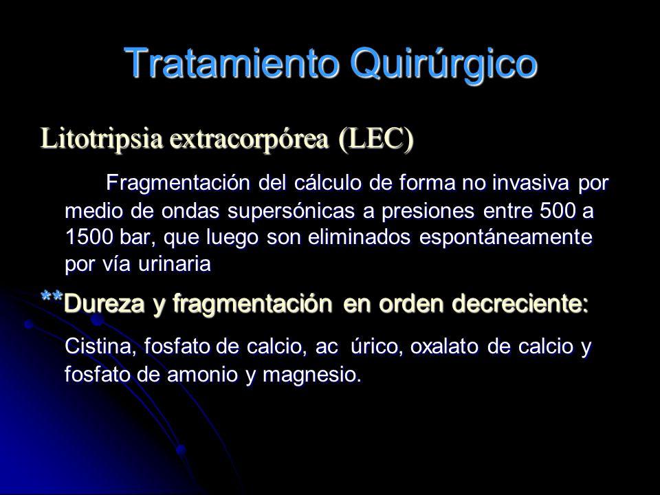 Tratamiento Quirúrgico Litotripsia extracorpórea (LEC) Fragmentación del cálculo de forma no invasiva por medio de ondas supersónicas a presiones entr