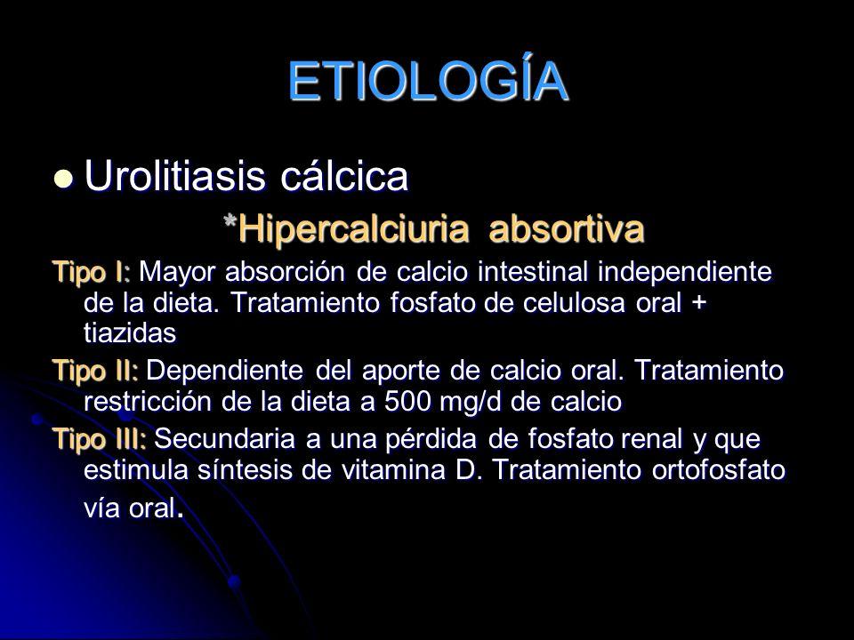 * Hipercalciuria Resortiva Secundaria al aumento de PTH por adenoma en las glándulas paratiroides produciendo hipercalcemia, fosfaturia y hipercalciuria.