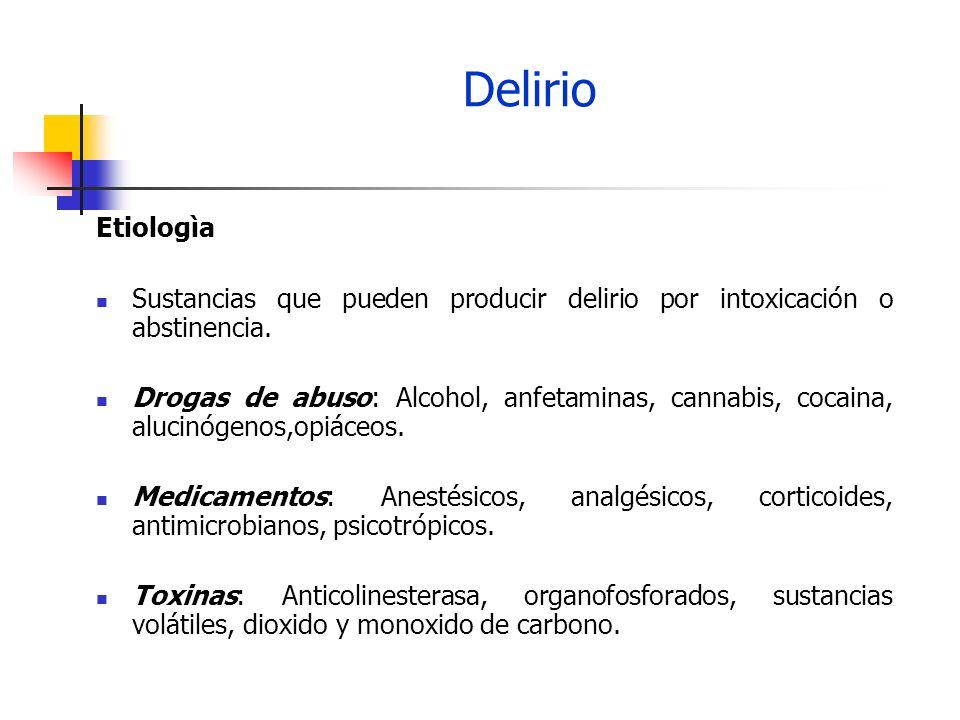 Delirio Etiologìa Sustancias que pueden producir delirio por intoxicación o abstinencia. Drogas de abuso: Alcohol, anfetaminas, cannabis, cocaina, alu