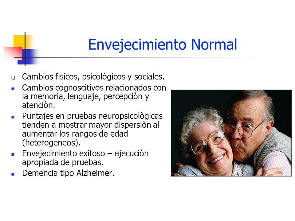 Envejecimiento Normal Cambios fìsicos, psicològicos y sociales. Cambios cognoscitivos relacionados con la memoria, lenguaje, percepciòn y atenciòn. Pu