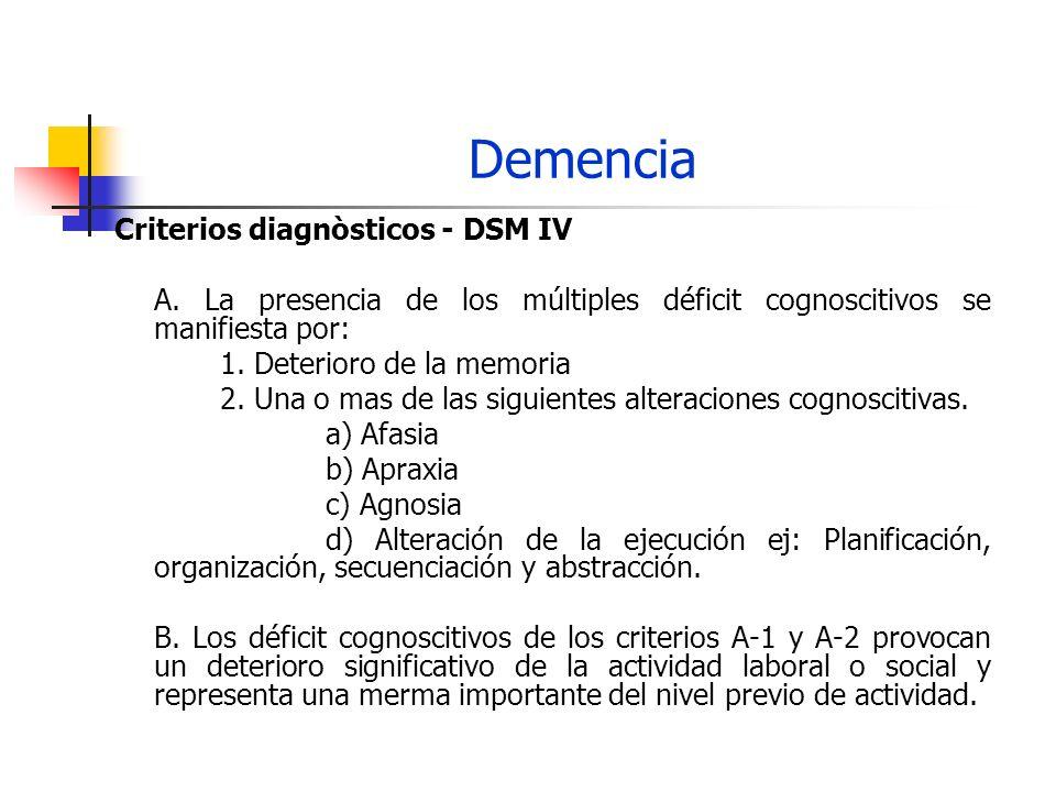 Demencia Criterios diagnòsticos - DSM IV A. La presencia de los múltiples déficit cognoscitivos se manifiesta por: 1. Deterioro de la memoria 2. Una o