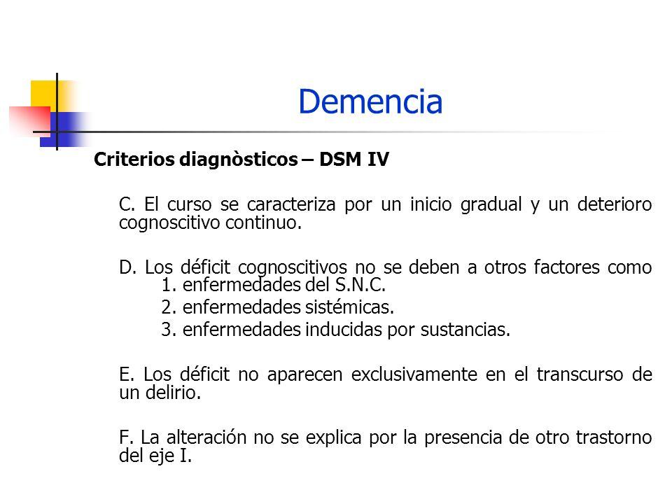 Demencia Criterios diagnòsticos – DSM IV C. El curso se caracteriza por un inicio gradual y un deterioro cognoscitivo continuo. D. Los déficit cognosc