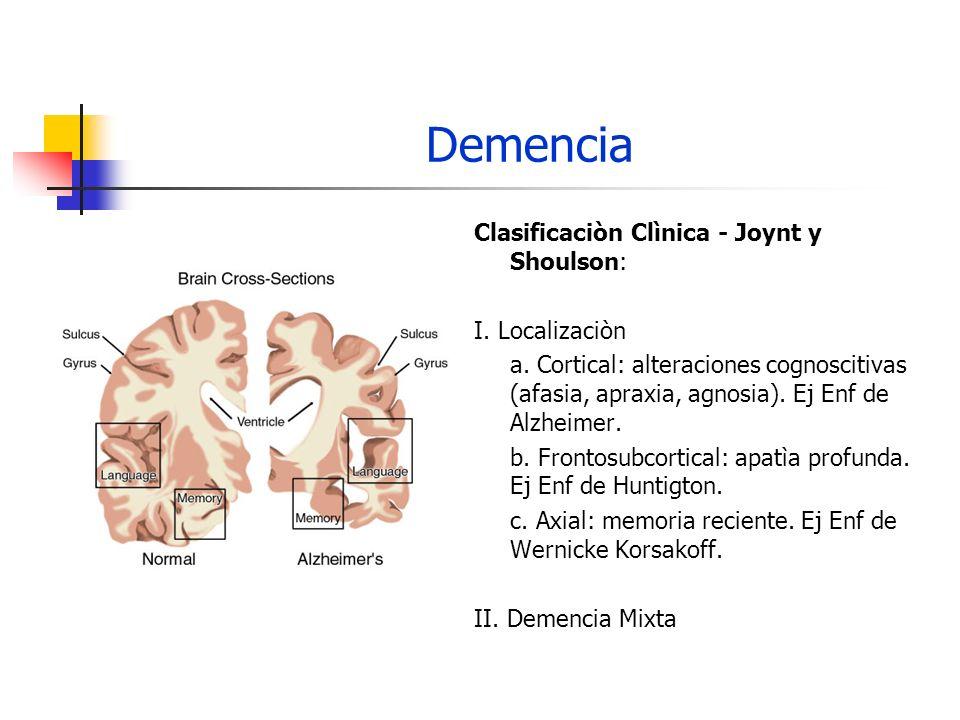 Demencia Clasificaciòn Clìnica - Joynt y Shoulson: I. Localizaciòn a. Cortical: alteraciones cognoscitivas (afasia, apraxia, agnosia). Ej Enf de Alzhe