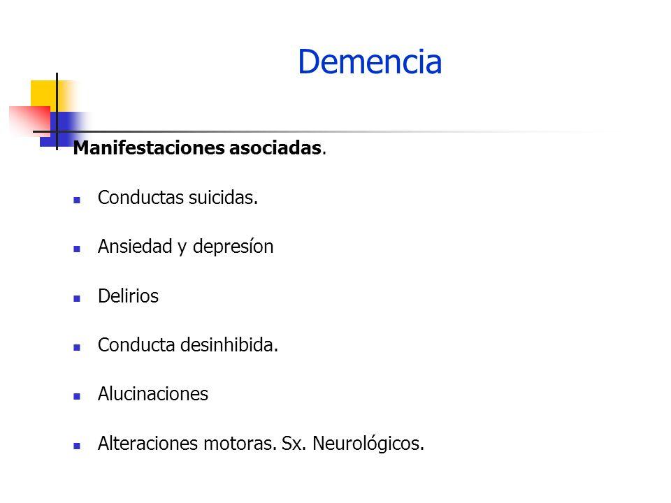 Demencia Manifestaciones asociadas. Conductas suicidas. Ansiedad y depresíon Delirios Conducta desinhibida. Alucinaciones Alteraciones motoras. Sx. Ne
