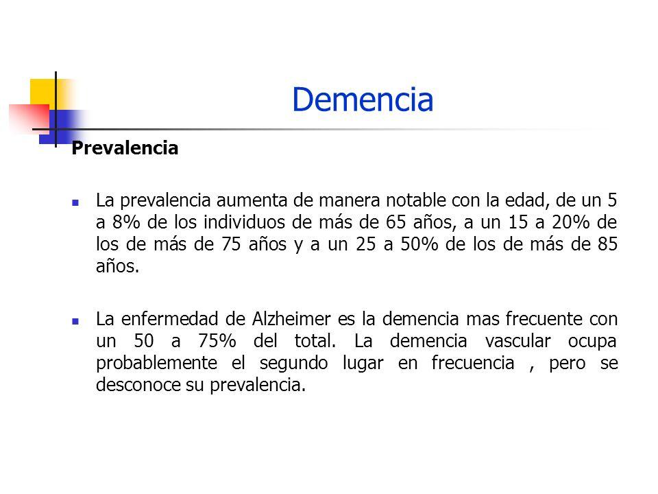 Demencia Prevalencia La prevalencia aumenta de manera notable con la edad, de un 5 a 8% de los individuos de más de 65 años, a un 15 a 20% de los de m