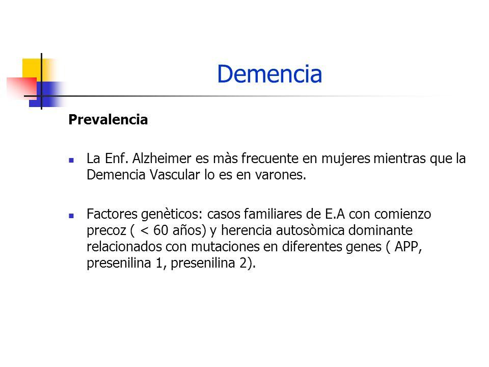 Demencia Prevalencia La Enf. Alzheimer es màs frecuente en mujeres mientras que la Demencia Vascular lo es en varones. Factores genèticos: casos famil