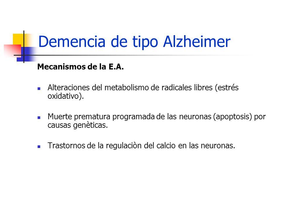 Demencia de tipo Alzheimer Mecanismos de la E.A. Alteraciones del metabolismo de radicales libres (estrés oxidativo). Muerte prematura programada de l