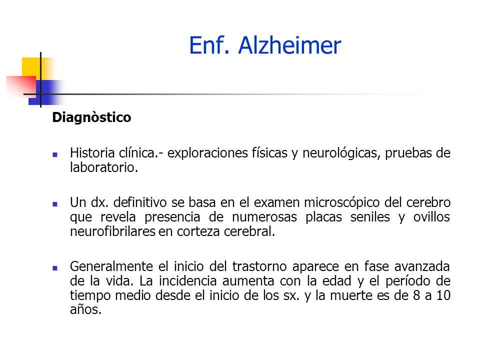 Enf. Alzheimer Diagnòstico Historia clínica.- exploraciones físicas y neurológicas, pruebas de laboratorio. Un dx. definitivo se basa en el examen mic