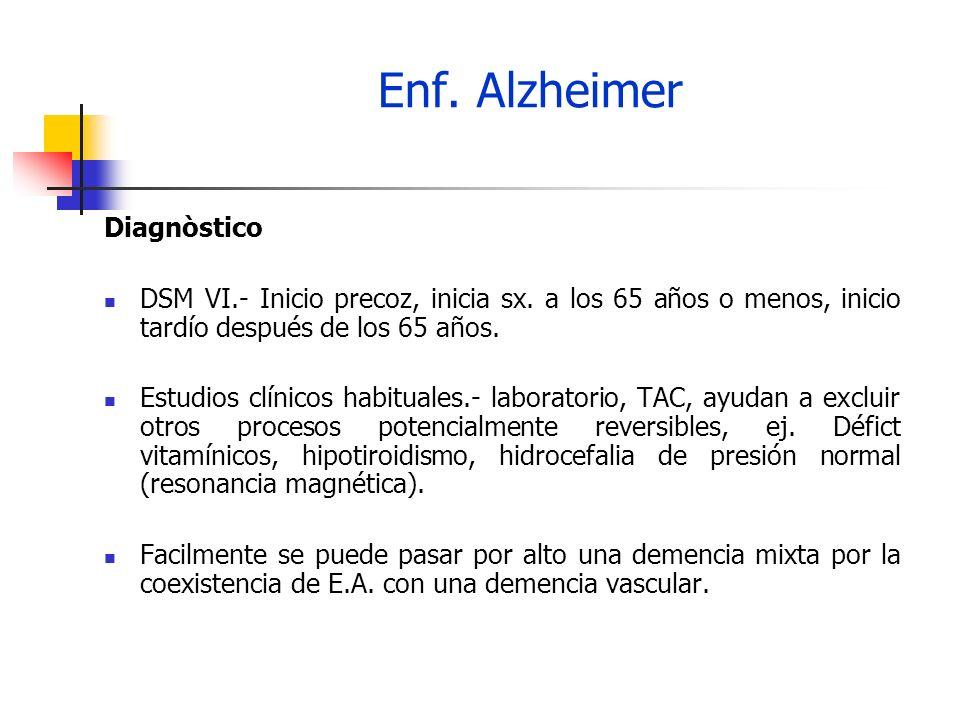 Enf. Alzheimer Diagnòstico DSM VI.- Inicio precoz, inicia sx. a los 65 años o menos, inicio tardío después de los 65 años. Estudios clínicos habituale