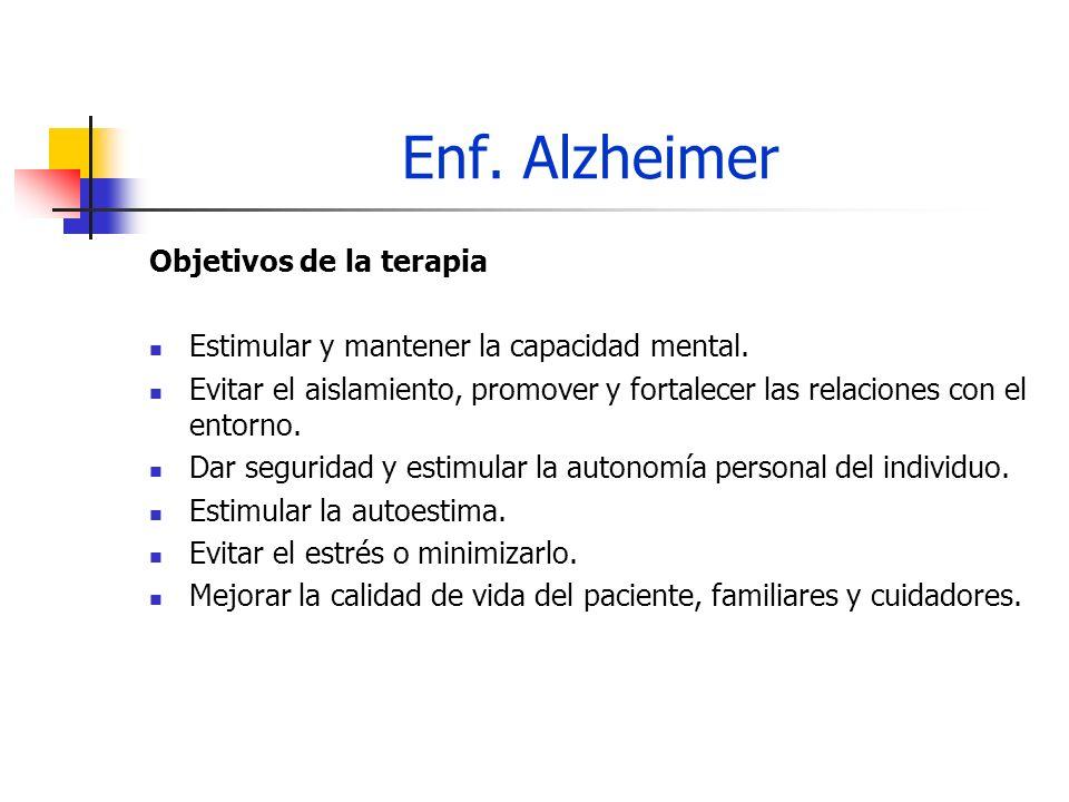 Enf. Alzheimer Objetivos de la terapia Estimular y mantener la capacidad mental. Evitar el aislamiento, promover y fortalecer las relaciones con el en