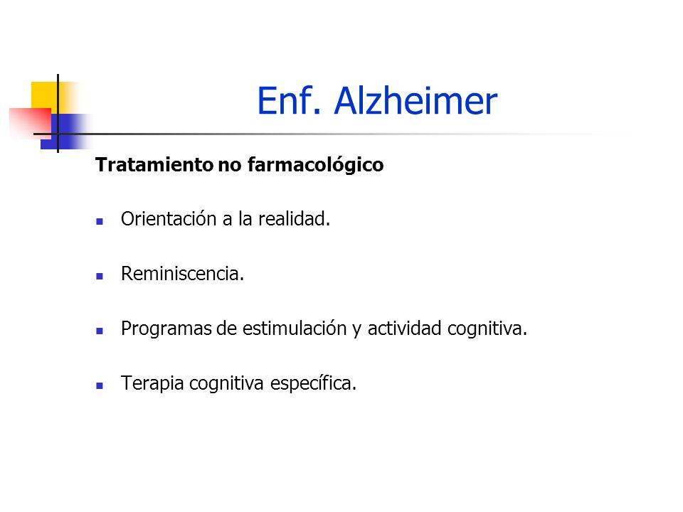 Enf. Alzheimer Tratamiento no farmacológico Orientación a la realidad. Reminiscencia. Programas de estimulación y actividad cognitiva. Terapia cogniti