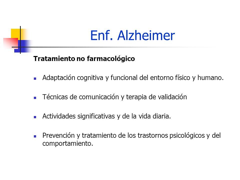 Enf. Alzheimer Tratamiento no farmacológico Adaptación cognitiva y funcional del entorno físico y humano. Técnicas de comunicación y terapia de valida