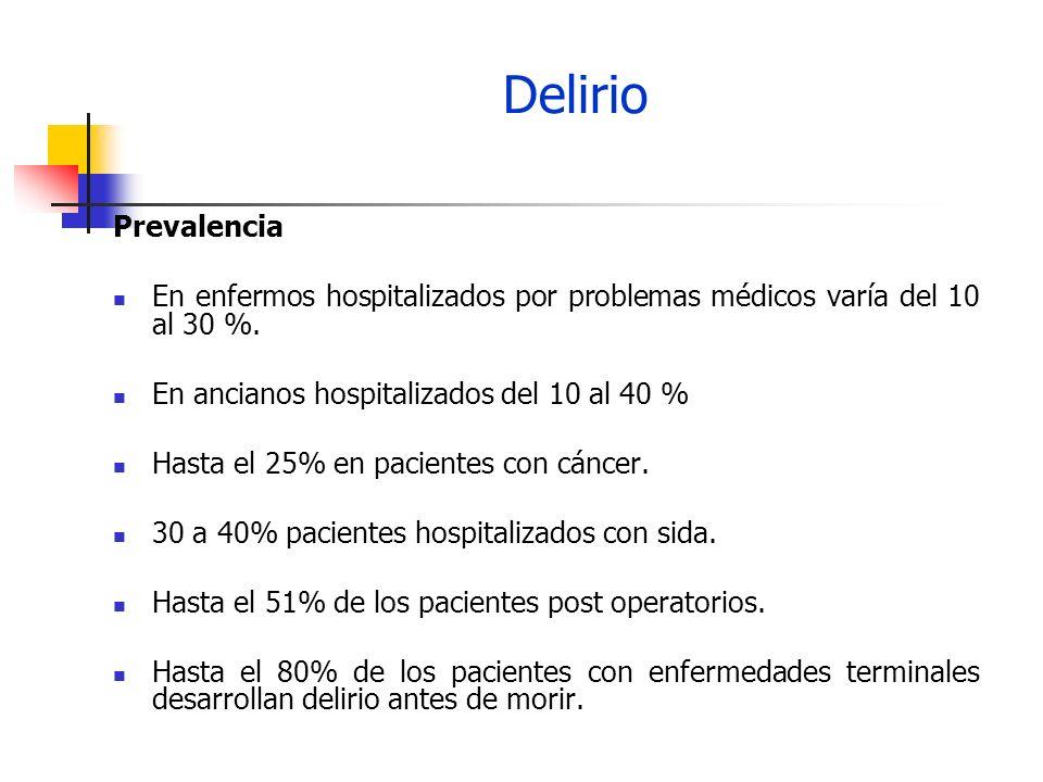 Delirio Prevalencia En enfermos hospitalizados por problemas médicos varía del 10 al 30 %. En ancianos hospitalizados del 10 al 40 % Hasta el 25% en p