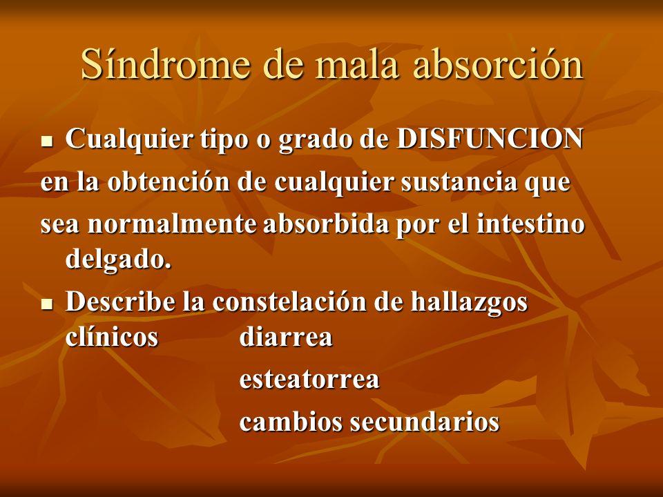 Síndrome de mala absorción Cualquier tipo o grado de DISFUNCION Cualquier tipo o grado de DISFUNCION en la obtención de cualquier sustancia que sea no