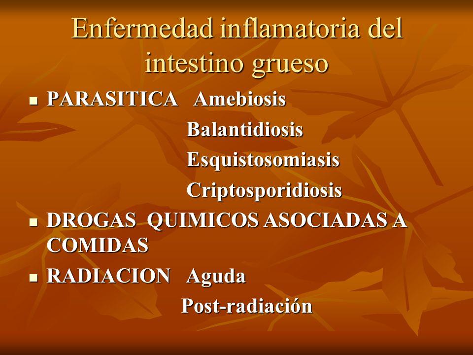 Enfermedad inflamatoria del intestino grueso PARASITICA Amebiosis PARASITICA Amebiosis Balantidiosis Balantidiosis Esquistosomiasis Esquistosomiasis C