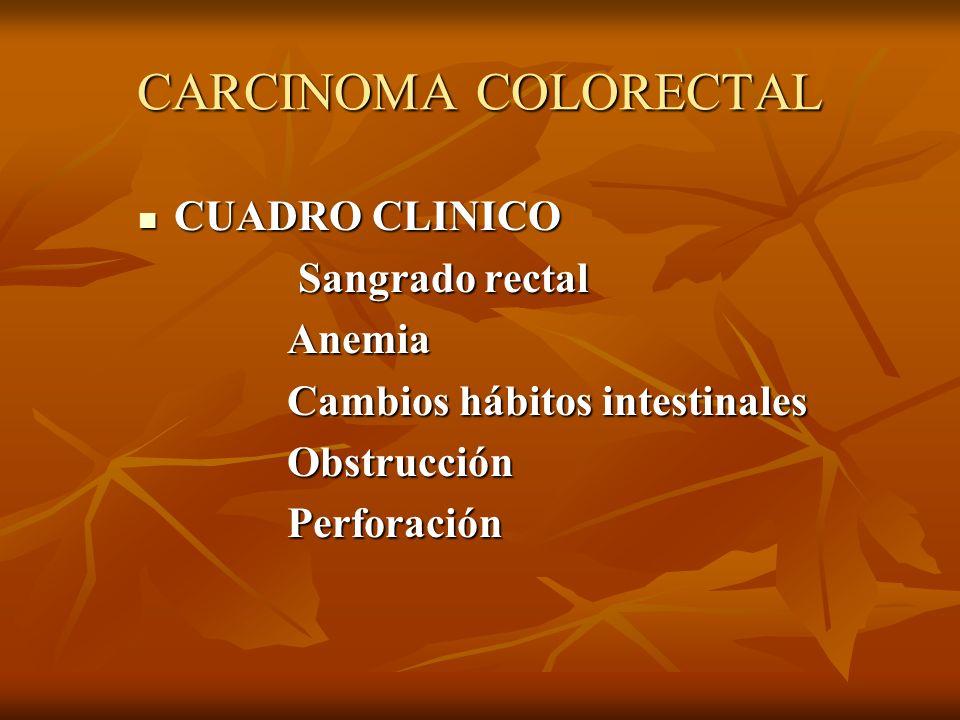 CARCINOMA COLORECTAL CUADRO CLINICO CUADRO CLINICO Sangrado rectal Sangrado rectal Anemia Anemia Cambios hábitos intestinales Cambios hábitos intestin