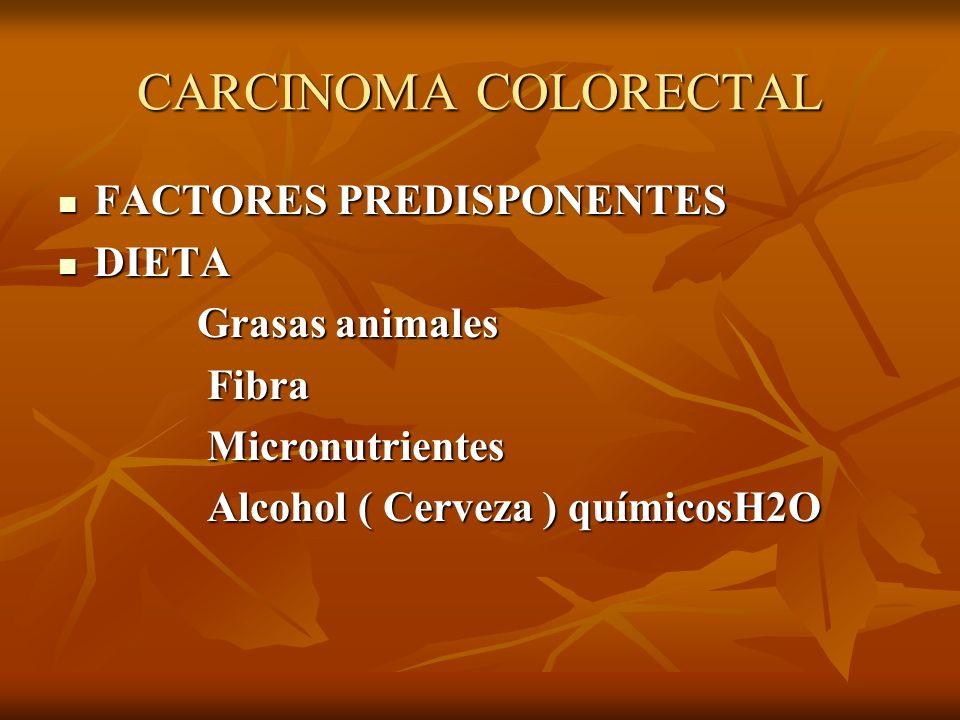 CARCINOMA COLORECTAL FACTORES PREDISPONENTES FACTORES PREDISPONENTES DIETA DIETA Grasas animales Grasas animales Fibra Fibra Micronutrientes Micronutr