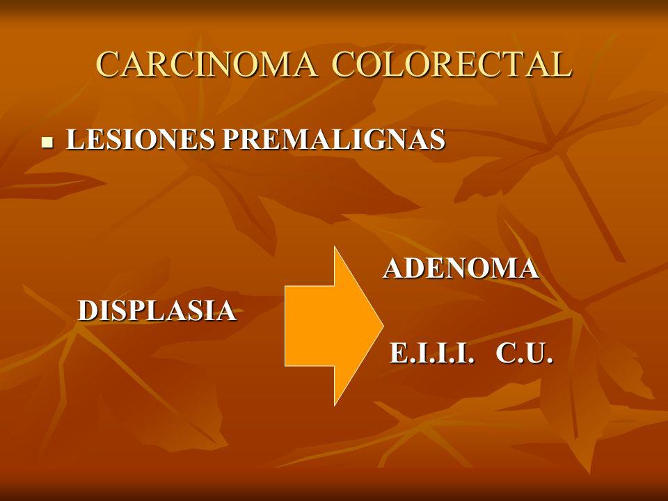 CARCINOMA COLORECTAL LESIONES PREMALIGNAS LESIONES PREMALIGNAS ADENOMA ADENOMA DISPLASIA DISPLASIA E.I.I.I. C.U. E.I.I.I. C.U.