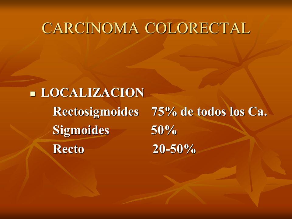 CARCINOMA COLORECTAL LOCALIZACION LOCALIZACION Rectosigmoides 75% de todos los Ca. Rectosigmoides 75% de todos los Ca. Sigmoides 50% Sigmoides 50% Rec