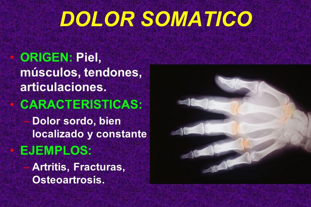 DOLOR SOMATICO ORIGEN: Piel, músculos, tendones, articulaciones. CARACTERISTICAS: –Dolor sordo, bien localizado y constante EJEMPLOS: –Artritis, Fract
