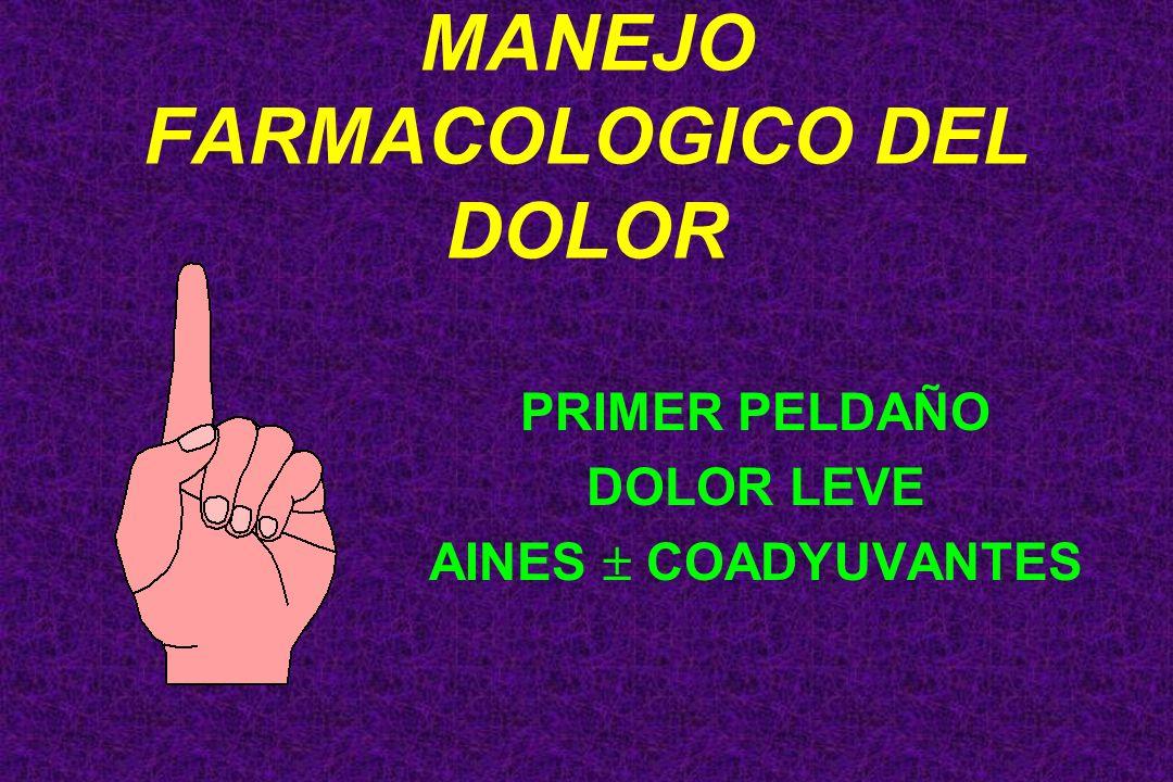 MANEJO FARMACOLOGICO DEL DOLOR PRIMER PELDAÑO DOLOR LEVE AINES COADYUVANTES