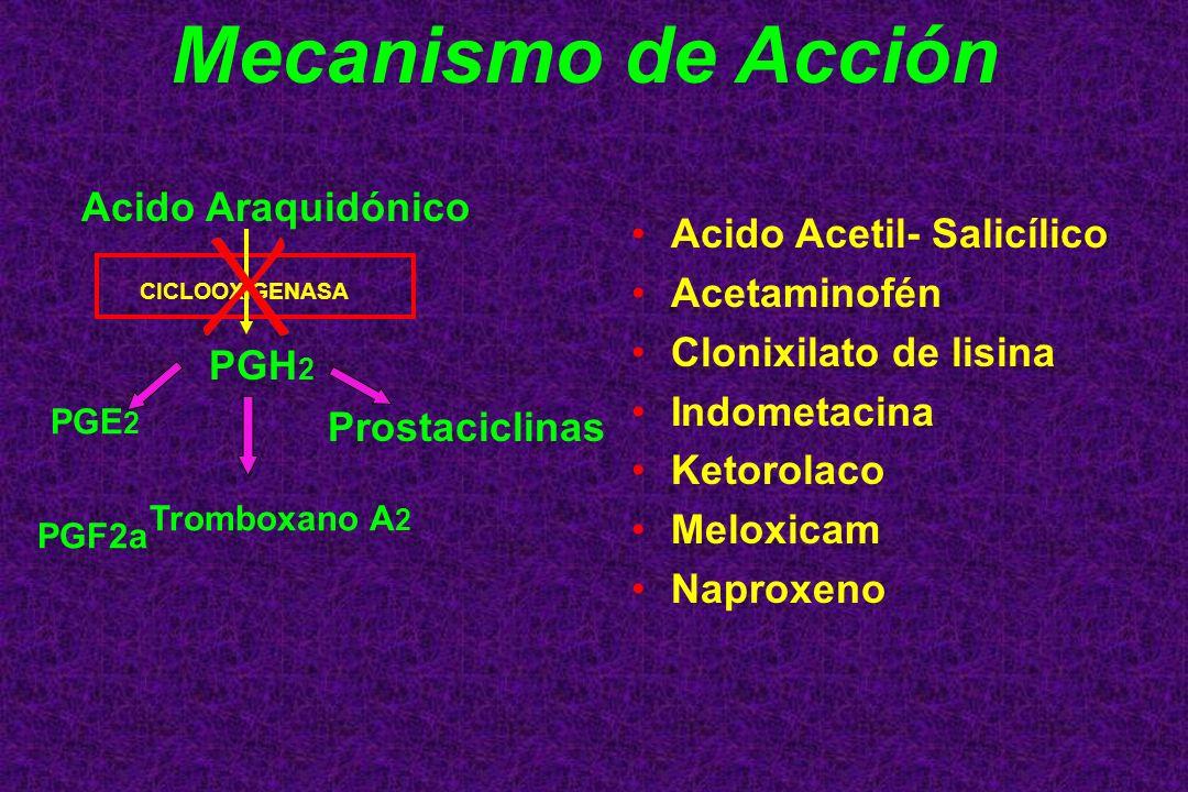 Mecanismo de Acción Acido Acetil- Salicílico Acetaminofén Clonixilato de lisina Indometacina Ketorolaco Meloxicam Naproxeno Acido Araquidónico PGH 2 P