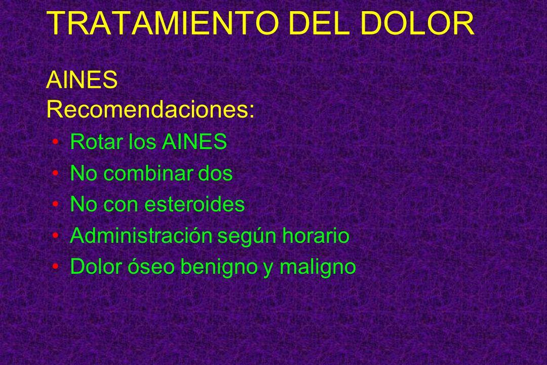TRATAMIENTO DEL DOLOR AINES Recomendaciones: Rotar los AINES No combinar dos No con esteroides Administración según horario Dolor óseo benigno y malig