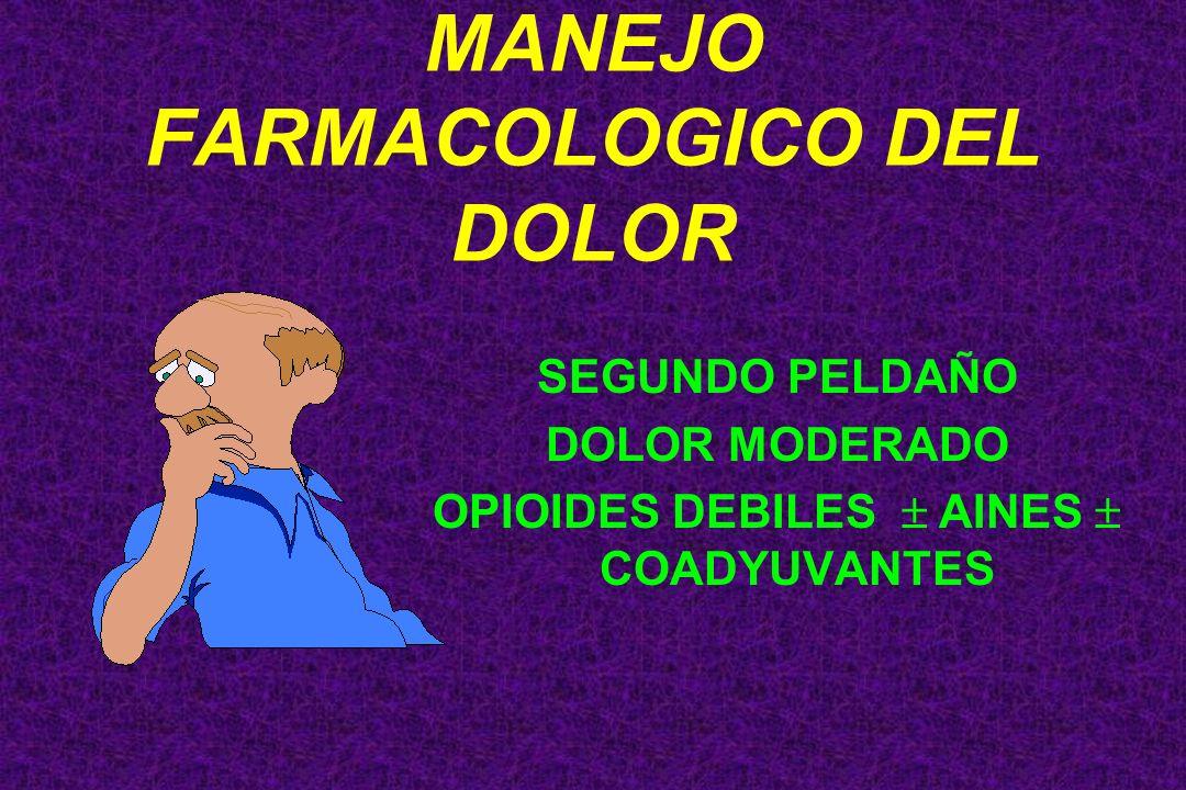 SEGUNDO PELDAÑO DOLOR MODERADO OPIOIDES DEBILES AINES COADYUVANTES MANEJO FARMACOLOGICO DEL DOLOR
