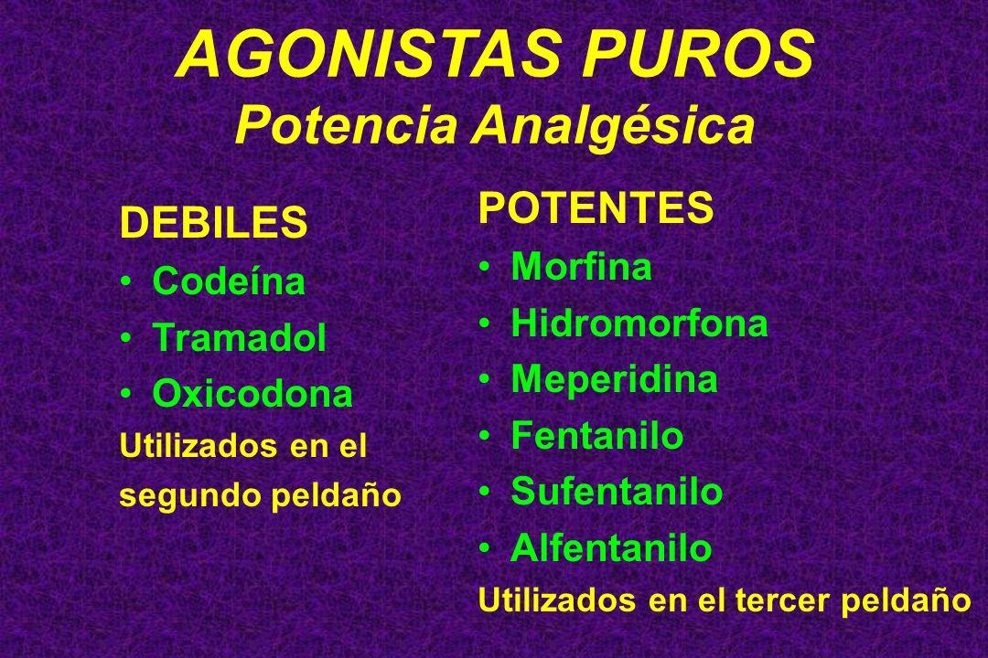 AGONISTAS PUROS Potencia Analgésica DEBILES Codeína Tramadol Oxicodona Utilizados en el segundo peldaño POTENTES Morfina Hidromorfona Meperidina Fenta