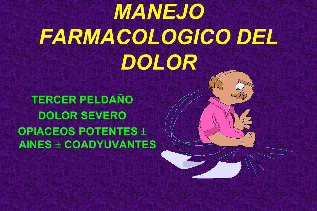 TERCER PELDAÑO DOLOR SEVERO OPIACEOS POTENTES AINES COADYUVANTES MANEJO FARMACOLOGICO DEL DOLOR