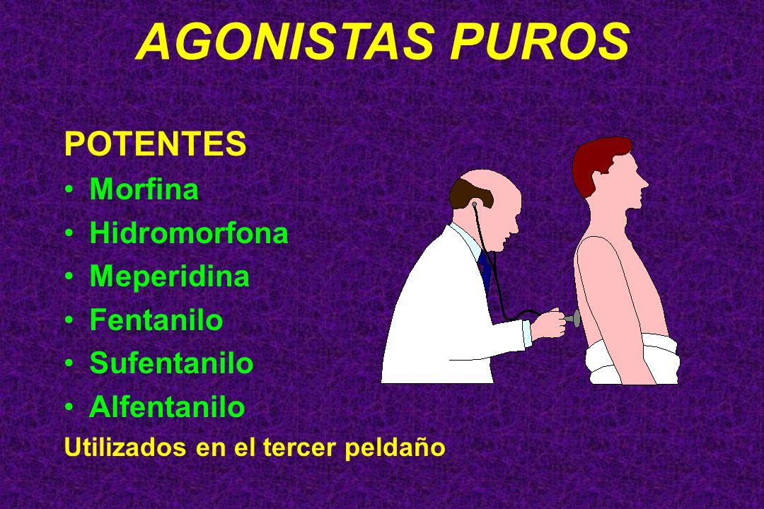 AGONISTAS PUROS POTENTES Morfina Hidromorfona Meperidina Fentanilo Sufentanilo Alfentanilo Utilizados en el tercer peldaño