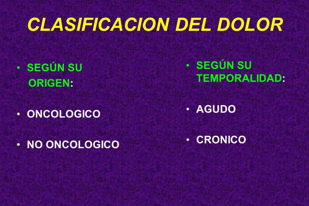SEGÚN SU ORIGEN: ONCOLOGICO NO ONCOLOGICO SEGÚN SU TEMPORALIDAD: AGUDO CRONICO CLASIFICACION DEL DOLOR