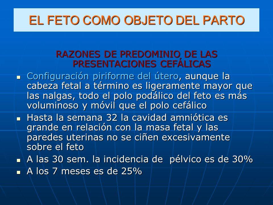 EL FETO COMO OBJETO DEL PARTO RAZONES DE PREDOMINIO DE LAS PRESENTACIONES CEFÁLICAS Configuración piriforme del útero, aunque la cabeza fetal a términ
