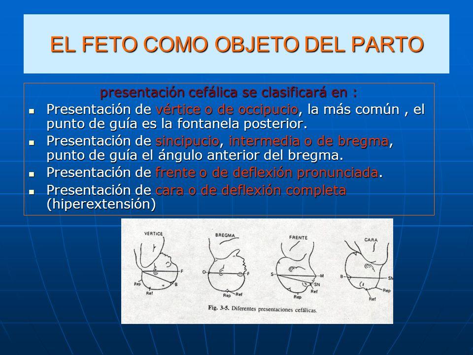 EL FETO COMO OBJETO DEL PARTO presentación cefálica se clasificará en : Presentación de vértice o de occipucio, la más común, el punto de guía es la f