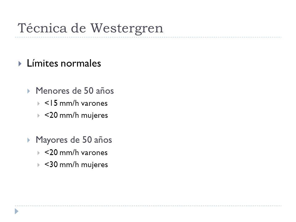 Técnica de Westergren Límites normales Menores de 50 años <15 mm/h varones <20 mm/h mujeres Mayores de 50 años <20 mm/h varones <30 mm/h mujeres